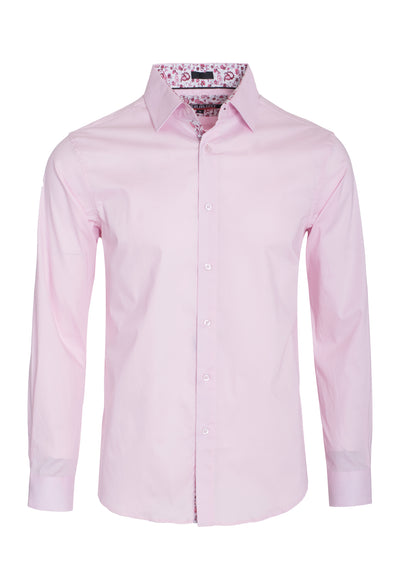 Men's Pink Solid Cotton-Stretch L/S Shirt
