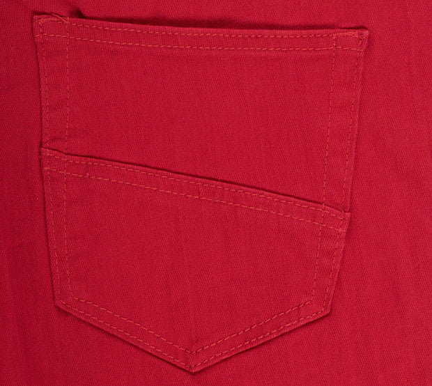Red Striated Skinny-Stretch Cotton Pants (717)