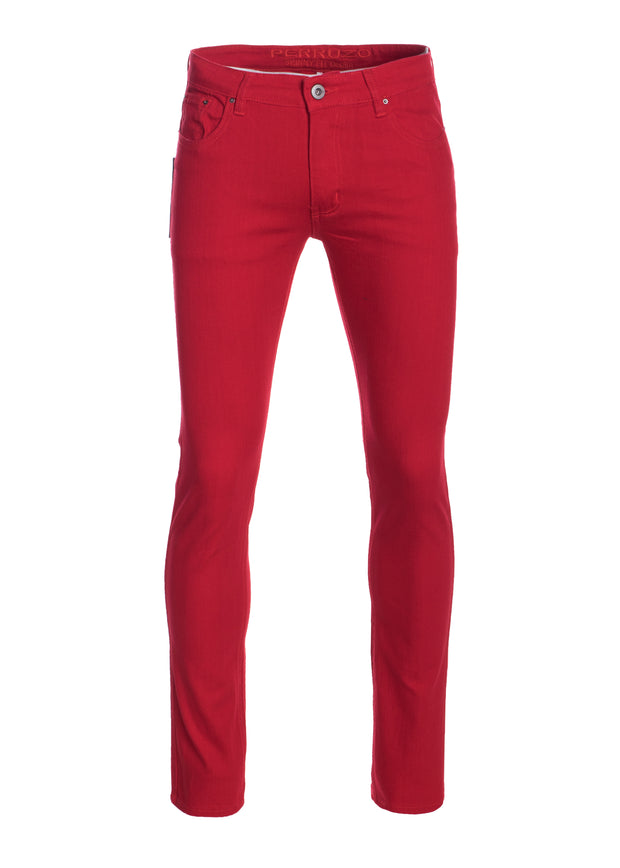 Men's Red Striated Skinny-Stretch Cotton Pants