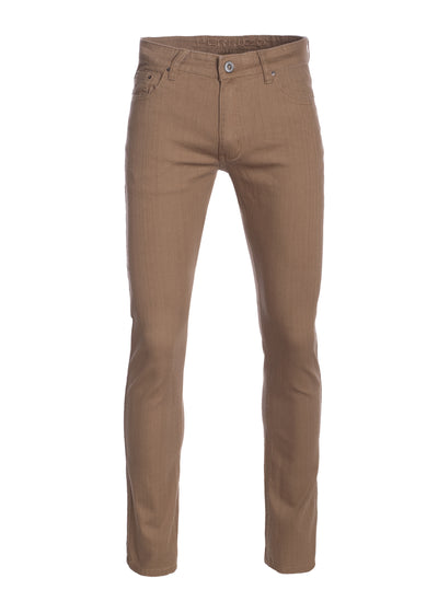 Men's Taupe Striated Skinny-Stretch Cotton Pants