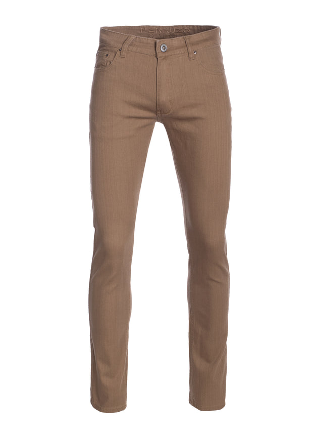 Taupe Striated Skinny-Stretch Cotton Pants (717)