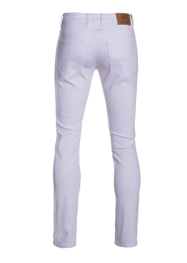 White Striated Skinny-Stretch Cotton Pants (717)