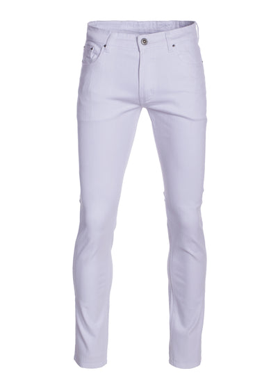 Men's White Striated Skinny-Stretch Cotton Pants