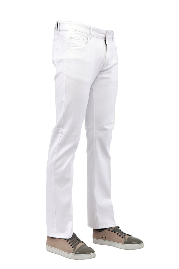 Men's White Slim-Stretch Jean