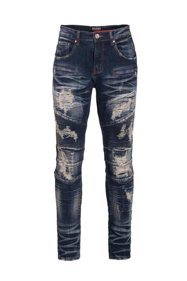 Men's Blue Moto Jeans