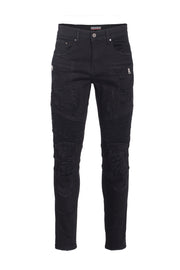 Men's Jet Black Moto Jeans
