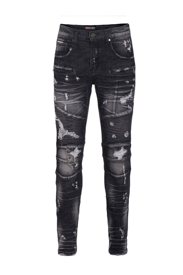 Men's Black Moto Jeans
