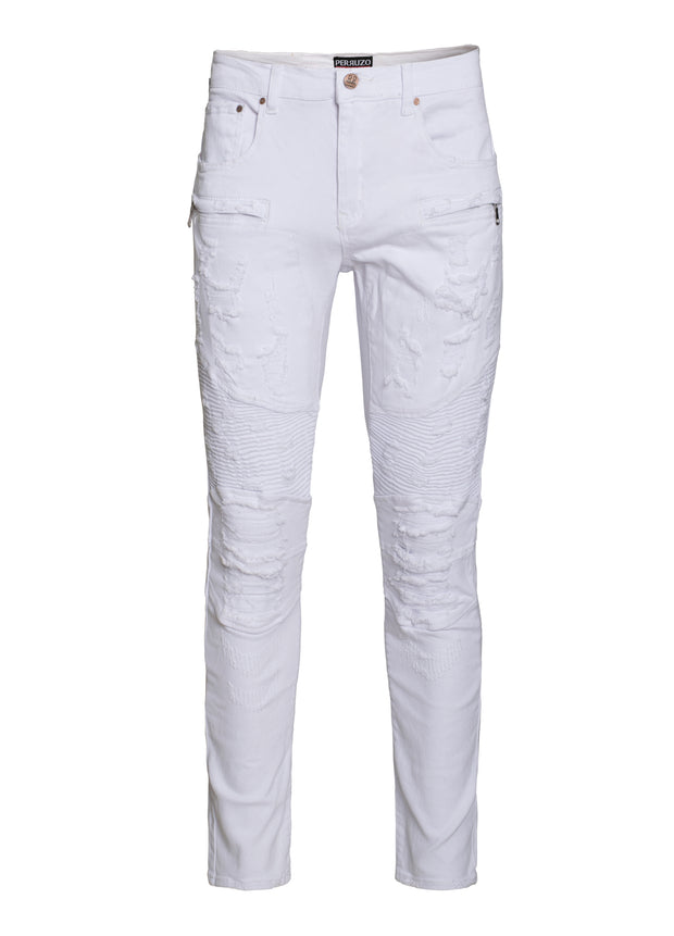 Men's White Moto Jeans