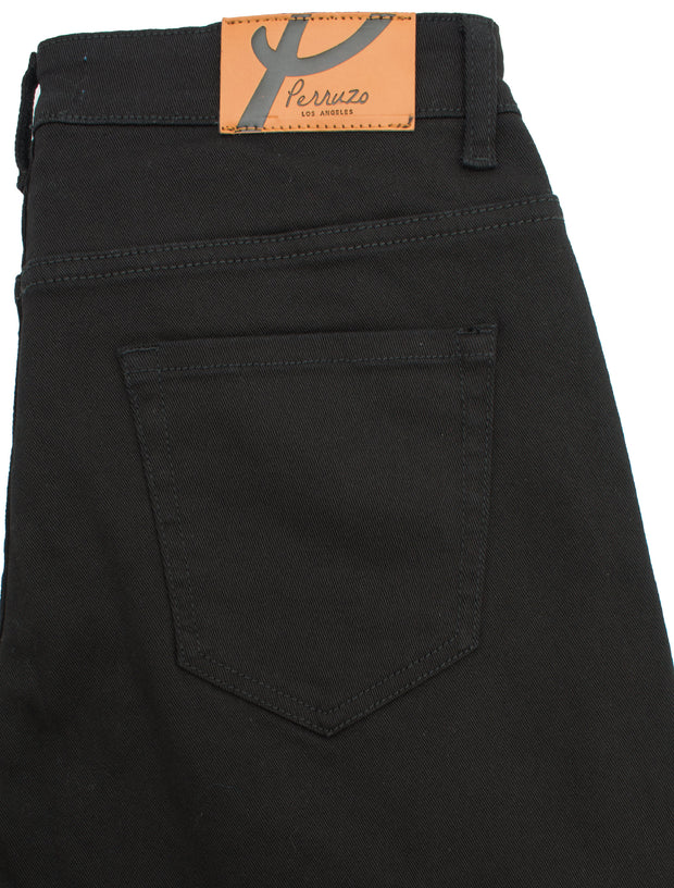 Black Quilted Jean with Art Patch (7564)