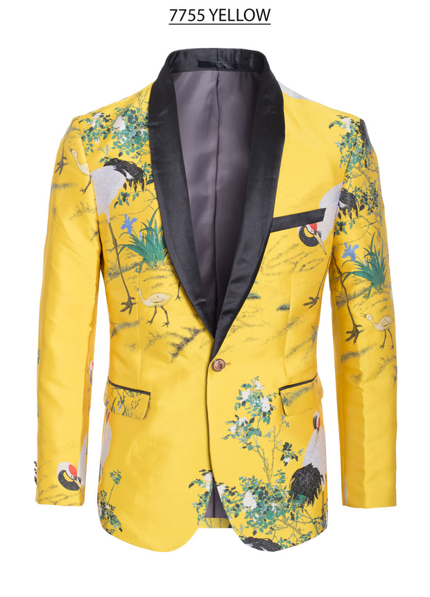 Men's Bright Yellow with Nature Design Print