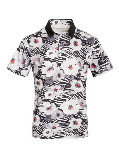 Black, Grey and White Floral Polo Shirt S113