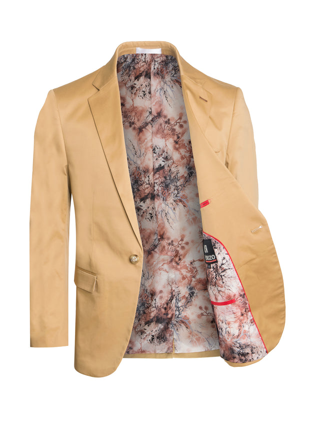 S93 Camel Cotton Fashion Blazer