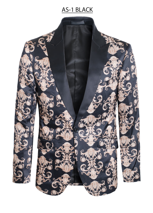 Black Blazer with Luxury Gold Design Men's Blazer