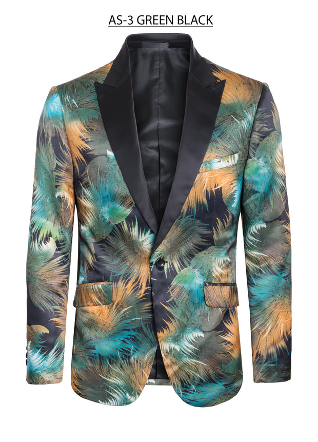 Black Blazer with Green and Orange Tropical Design (AS-3)