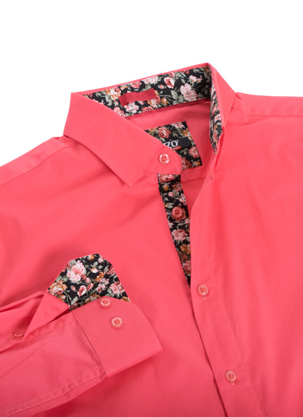 Coral Solid Cotton-Stretch L/S Shirt (4030)