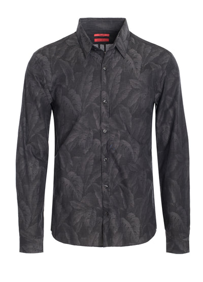 Men's Hugo Boss Black Long Sleeve Shirt with Tropical design