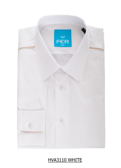 S-34 Fer White Long Sleeve Shirt with metallic colorful detail