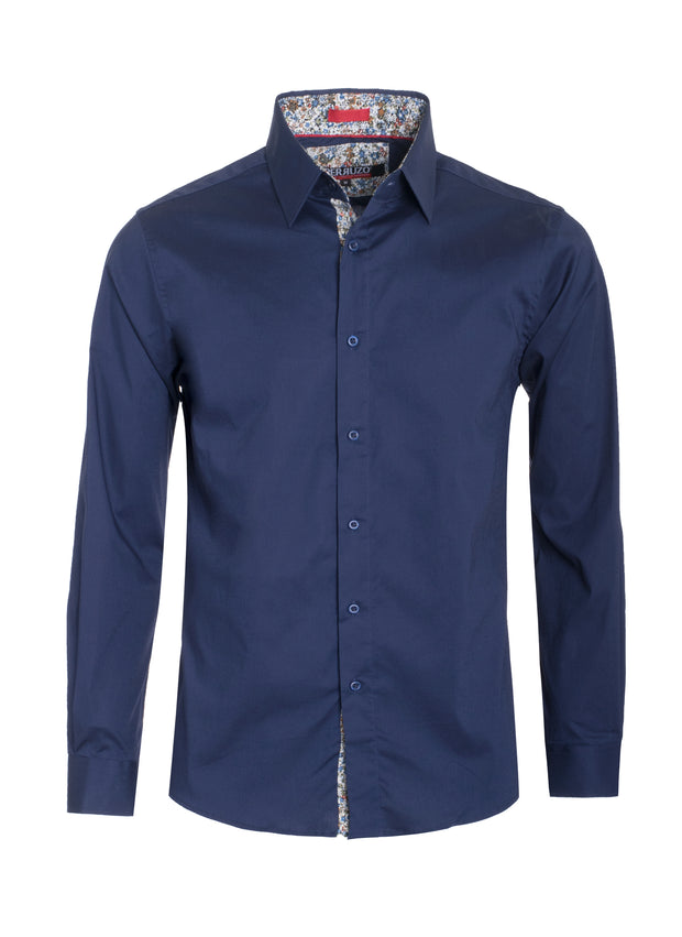 Men's Navy Solid Cotton-Stretch L/S Shirt