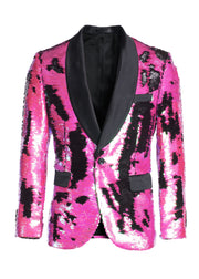 Men's Fuchsia/Black Sequin Blazer
