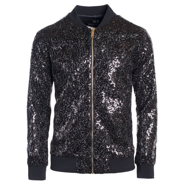 Men's Black Sequin Bomber Jacket (1782)