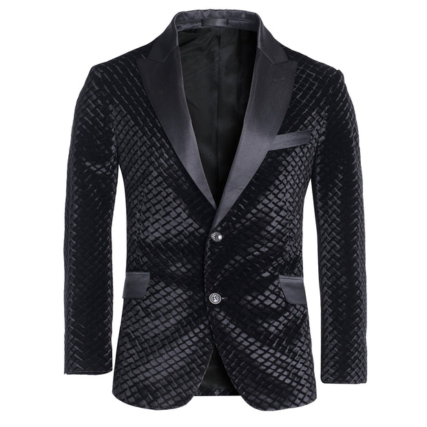 Men's Black Velvet Blazer (P1785)