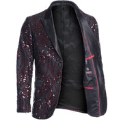 Black/Burgundy Sequin Blazer (1787)