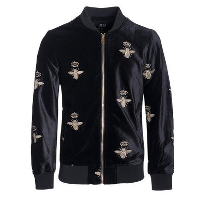 Men's Black Velvet Bomber Jacket (17890)