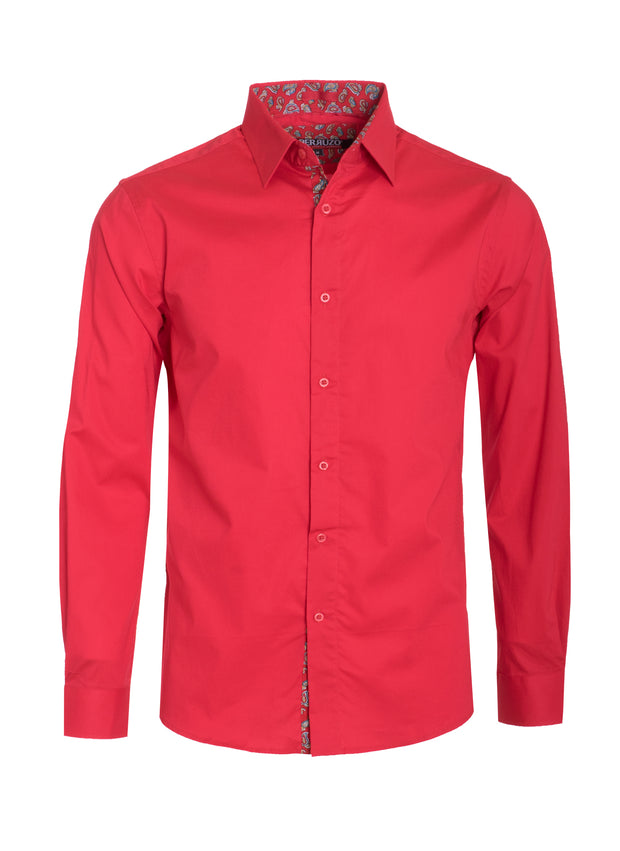 Red Solid Cotton-Stretch L/S Shirt (4030)