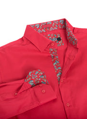 Red Solid Long-Sleeve Shirt (4030)
