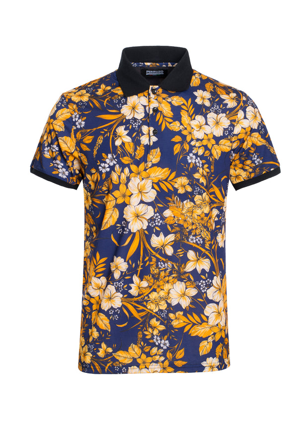 S-44 Floral Short Sleeve Polo Shirt
