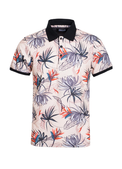 S-45 White Tropical Design Polo Shirt