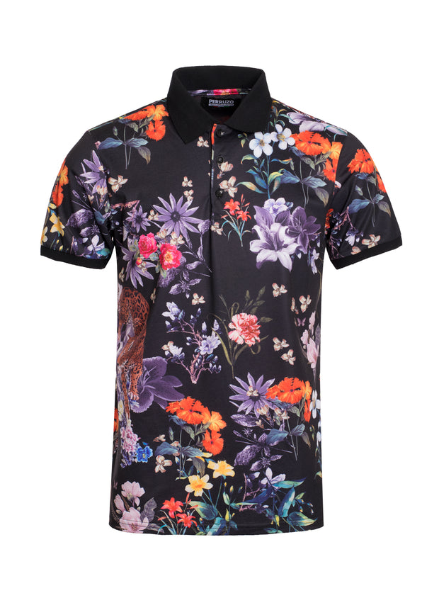 S-47 Black Floral Design Polo Shirt