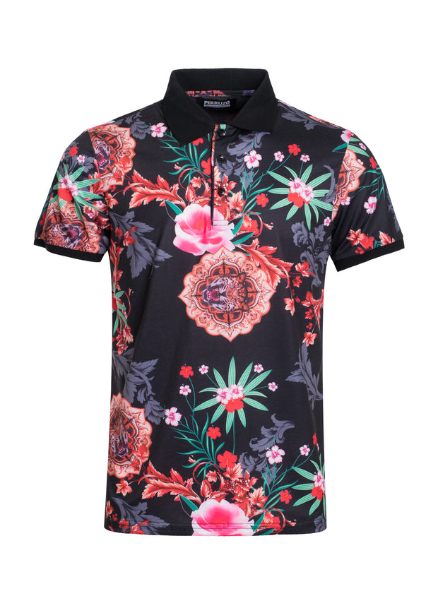 S-49 Black Floral Polo Shirt