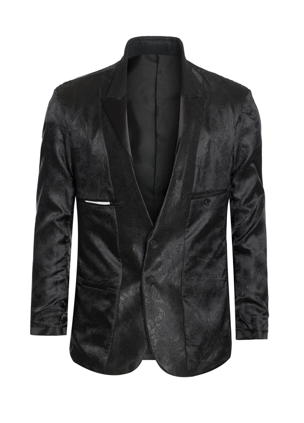 S55 Black Blazer With Design
