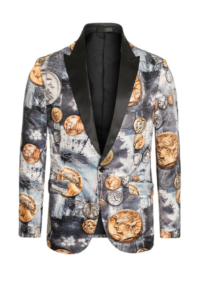 S-58 Grey Blazer with Gold and Silver Coins Design