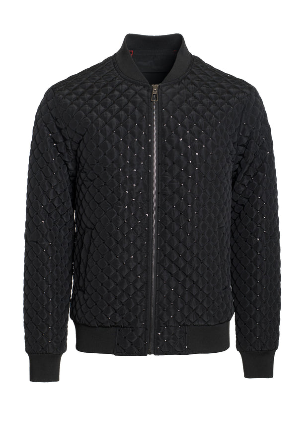 Black Bomber Jacket with Silver details