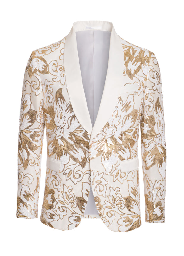 S-65 White Sequin Blazer with Gold Floral Design