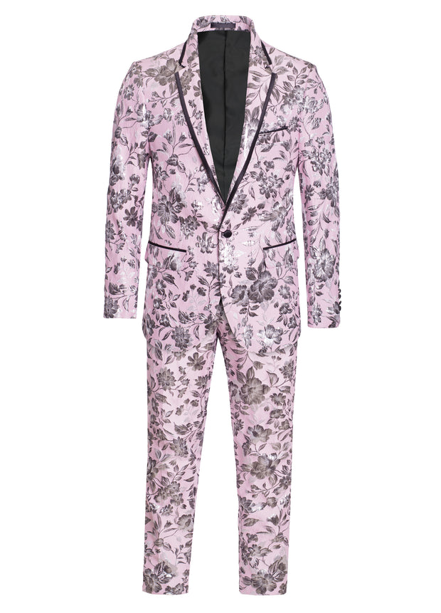 S-68 Pink with Grey Floral Design Blazer and Pants Set