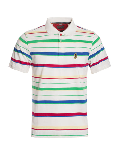 S104 White Multicolor Polo Shirt
