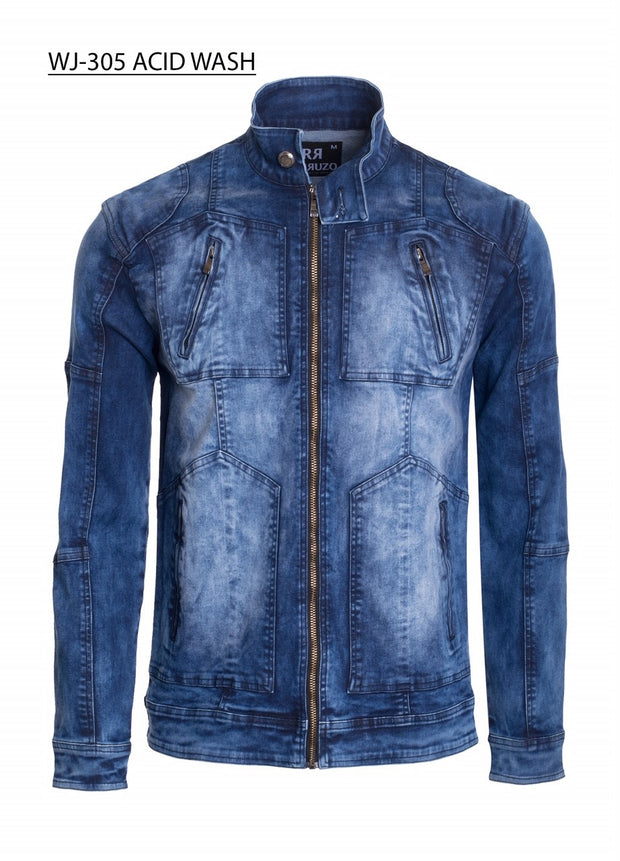 Men's Zipper Detail Washed Blue Moto Denim Jacket