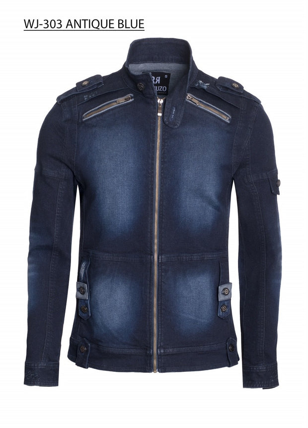 Mens Zipper Detail Washed Motorcycle Denim Jacke