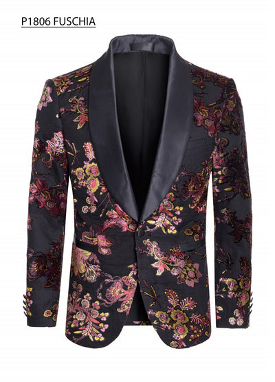 Men's Black Blazer with Pink and Gold Velvet Floral Design