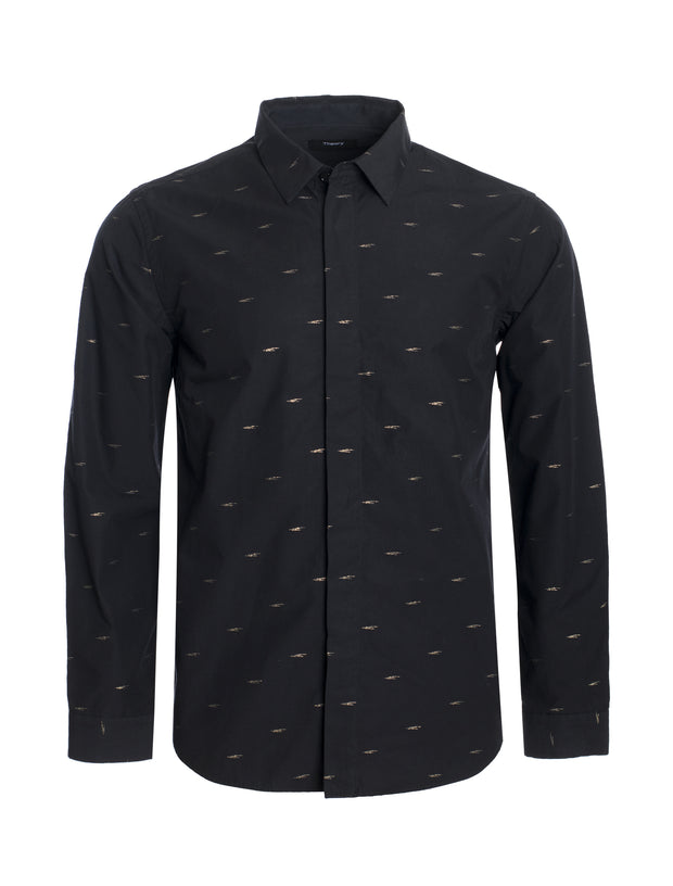 S78  Black Long Sleeve Shirt with Gold Details