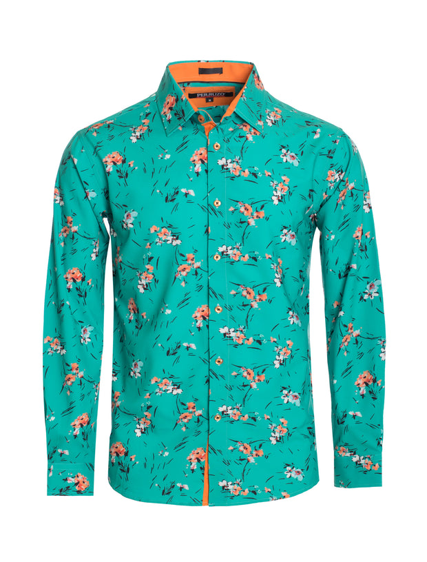 S83 Turquoise Floral Long Sleeve Shirt