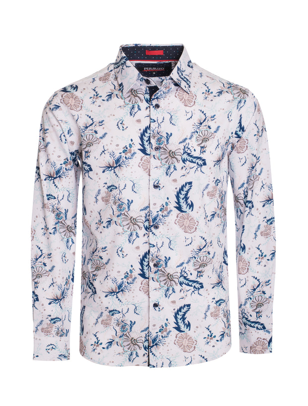 S84 White with Floral Design Long Sleeve Shirt