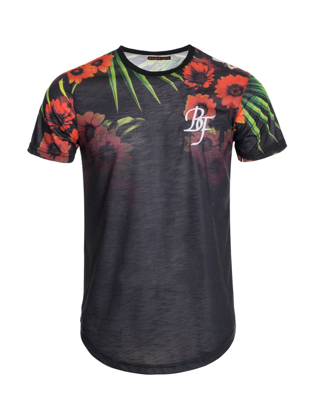 S90 Black T-shirt with Floral Detail
