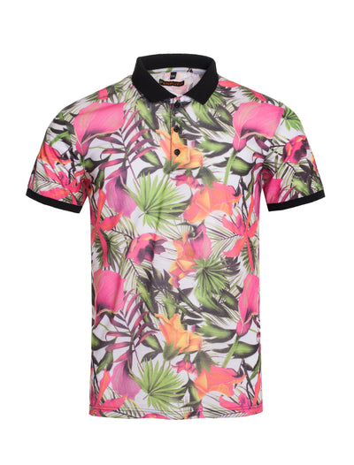 S91 Pink Tropical Polo Shirt