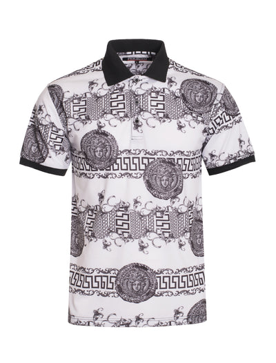S95 White and Black Baroque Polo