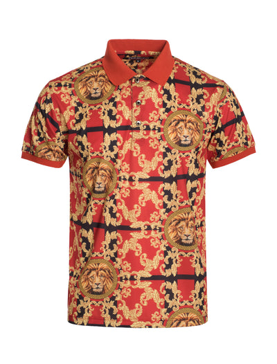 S96 Red Lion Baroque Design Polo Shirt