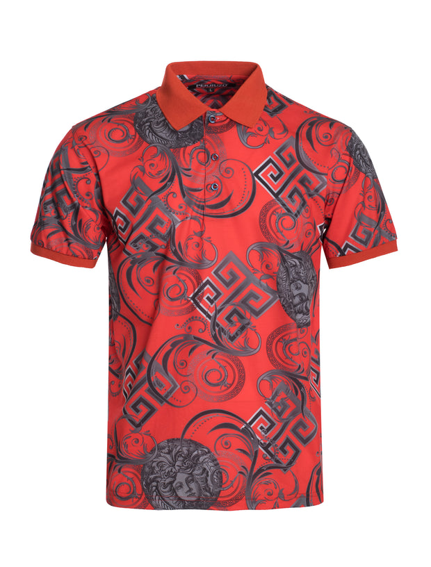 S97 Red Baroque Style Polo Shirt